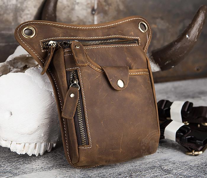 BAG436-3 Мужская кожаная сумка на бедро из гладкой кожи фото 01