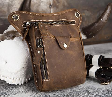 BAG436-3 Мужская кожаная сумка на бедро из гладкой кожи
