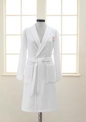 ANEMON  белый вафельно-махровый женский халат Soft Cotton (Турция)