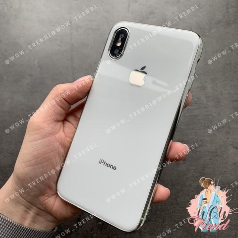 Чехол iPhone X/XS Glass Silicone Case Logo /white/