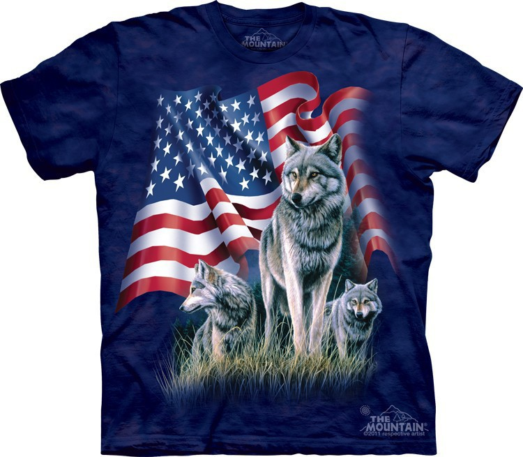 Футболка Mountain с изображением флага с волком - Wolf Flag