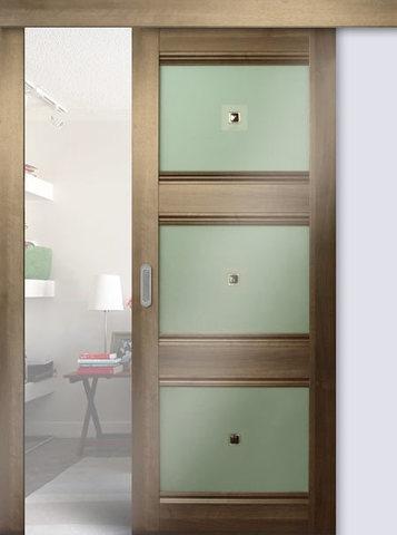 > Экошпон раздвижная Profil Doors №4Х-Классика, стекло узор, цвет орех сиена, остекленная
