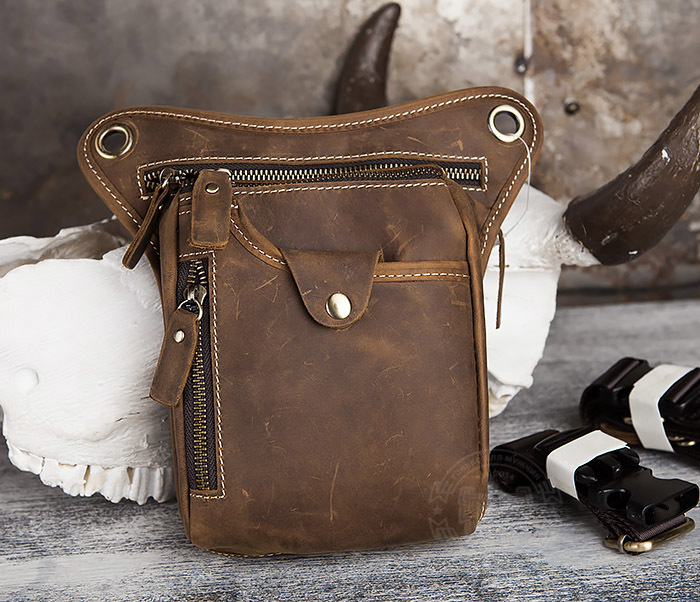 BAG436-3 Мужская кожаная сумка на бедро из гладкой кожи фото 02