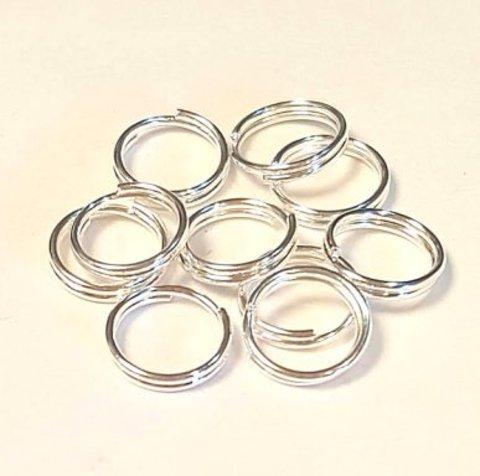Кольцо двойное 7 мм серебро цена за 10 шт