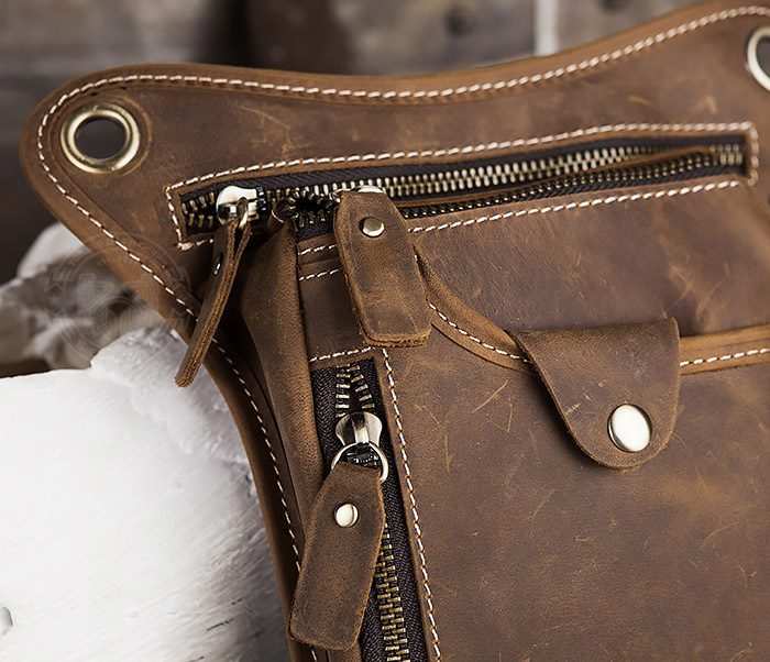BAG436-3 Мужская кожаная сумка на бедро из гладкой кожи фото 03