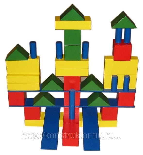 Конструктор напольный из дерева. Модель «Строитель» 46 деталей