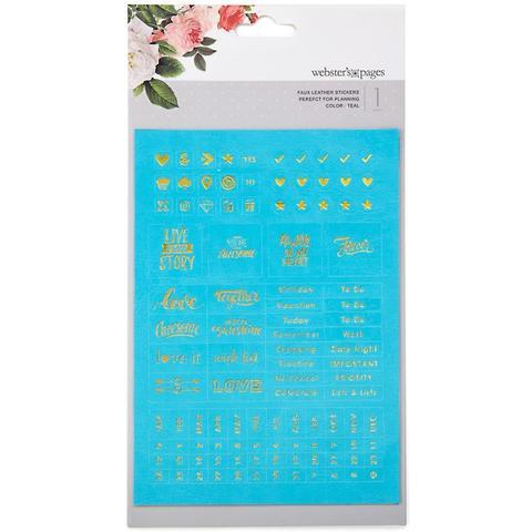 Стикеры из экокожи  с золотым эмбоссингом Color Crush Planner Foil Embossed Stickers - Teal Words