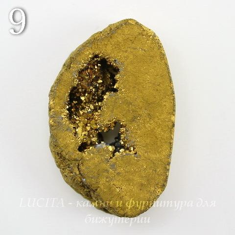 Бусина Агат с Кварцем с жеодой (тониров), цвет - золотой, 36-38 мм (№9 (38х25 мм))