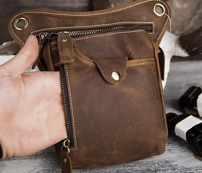 BAG436-3 Мужская кожаная сумка на бедро из гладкой кожи фото 04