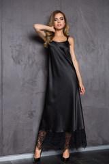 Длинное домашнее женское платье Evelin черного цвета
