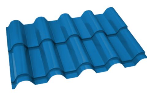 Металлочерепица Банга Полиэстер RAL 5015 Небесно-голубой 0,45 мм
