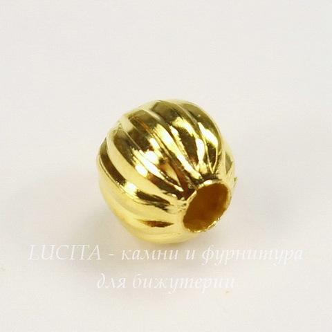 Бусина металлическая гофрированная (цвет - золото) 6 мм, 10 штук