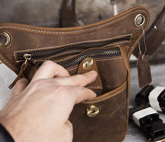 BAG436-3 Мужская кожаная сумка на бедро из гладкой кожи фото 05