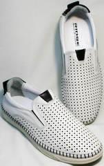 Летние мужские туфли с перфорацией стиль smart casual Ridge Z-441 White Black.