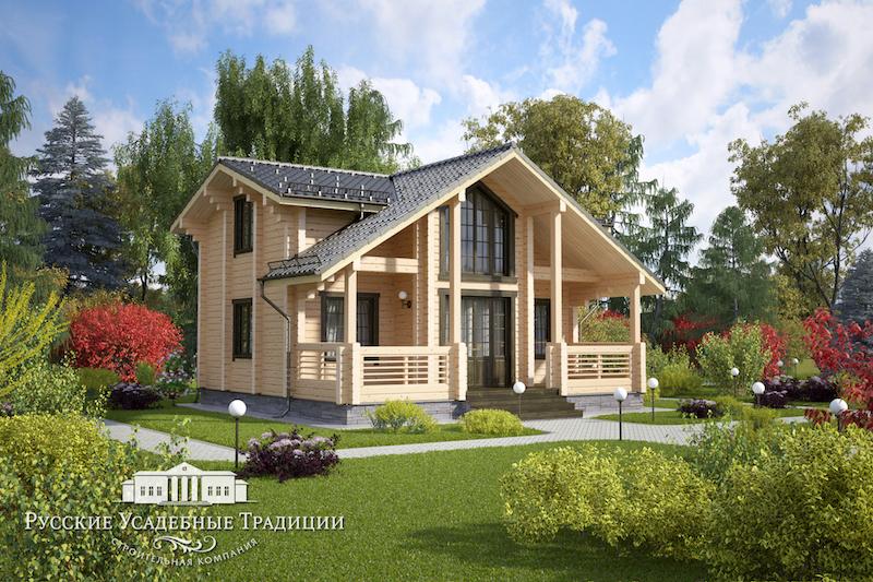 """Проекты двухэтажных домов «Вилла» в современной стилистике Проект двухэтажного дома """"Фаттори"""" 131 кв.м. LOG_HOUSE_02_logo_2.jpg"""