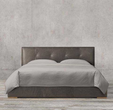 Tompkins Panel Box-Tufted Leather Bed With Nailheads
