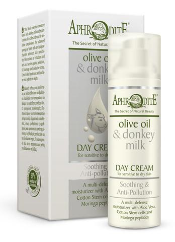 Успокаивающий защитный дневной крем для лица с молоком ослиц Aphrodite 50 мл