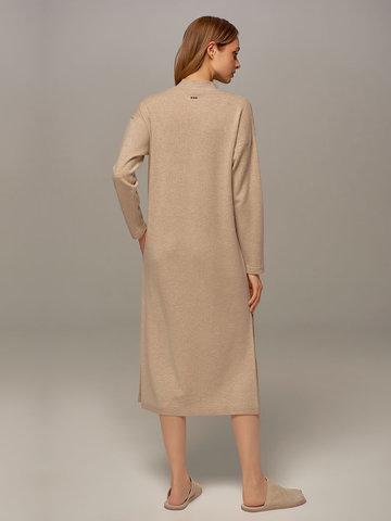 Женское платье бежевого цвета из шерсти и кашемира - фото 4