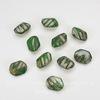 Бусина многоугольная  (цвет - зеленый с бензиновым напылением) 14х10 мм, 10 штук