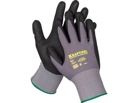 KRAFTOOL EXPERT, размер L, эластичные перчатки со вспененным нитриловым покрытием, 11285-L