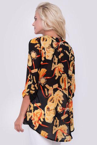 Очаровательная блузка свободного кроя. Рукав 3/4 на патах. Застежка - планка с пуговицами.