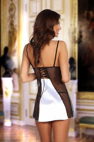 Черно-белая сорочка Michele с кружевными вставками, в комплект идут стринги фото