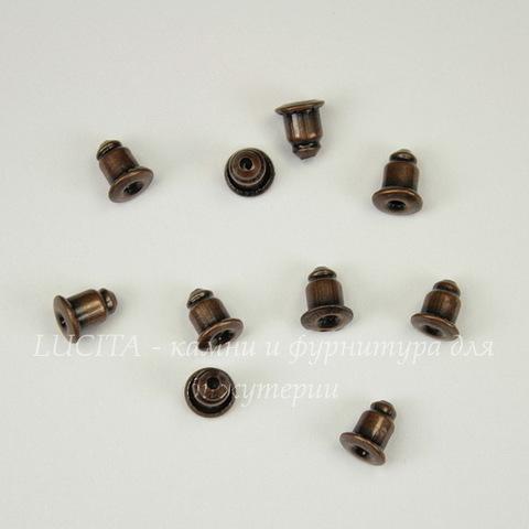 Зажим для пуссет-гвоздиков 5х5 мм (цвет - античная медь) 5 пар