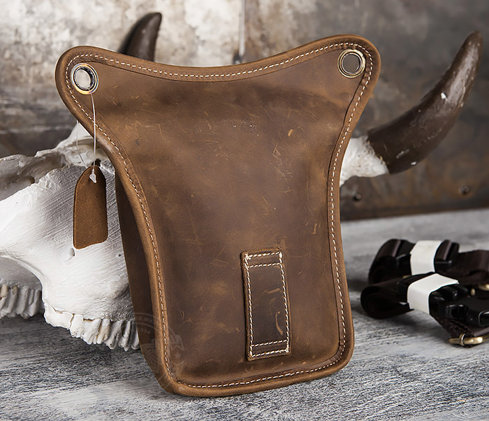 BAG436-3 Мужская кожаная сумка на бедро из гладкой кожи фото 07