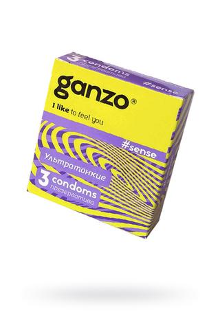 Презервативы Ganzo Sense, ультратонкие, латекс, 18 см, 3 шт фото