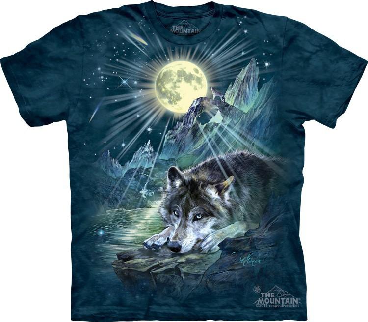 Футболка Mountain с изображением волка под луной - Wolf Night Symphony