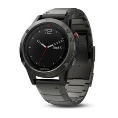 Умные мужские спортивные часы Garmin Fenix 5 Sapphire - серые с металлическим браслетом 010-01688-21