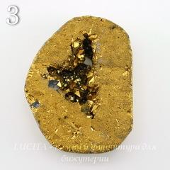 Бусина Агат с Кварцем с жеодой (тониров), цвет - золотой, 36-38 мм