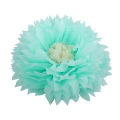 Бумажный цветок 40/15 см мятный+бежевый