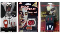 Хэллоуин накладные клыки вампира и капсулы с кровью