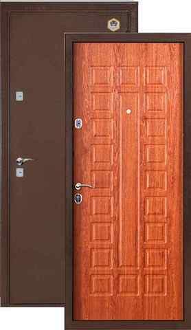 Дверь входная Бульдорс 104, 2 замка, 1,5 мм  металл, (медь антик+дуб золотой)