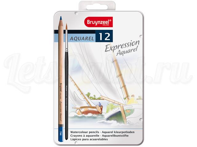 Набор из 12 акварельных карандашей Bruynzeel Expression Aquarel в метал. кор. + кисть