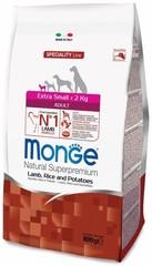 Monge Natural Superpremium Dog Adult полноценный корм для взрослых собак миниатюрных пород до 10кг  с ягненком, рисом и картофелем  800гр