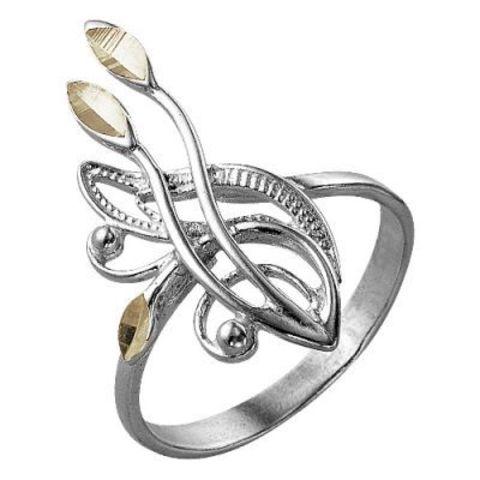 Кольцо с алмазной гранью и серебрением