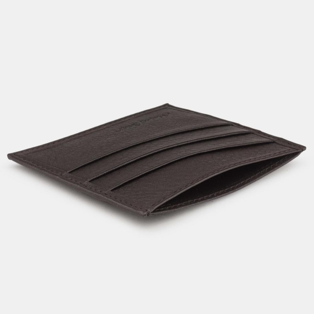 Картхолдер-визитница Carte Easy из натуральной кожи теленка, темно-коричневого цвета