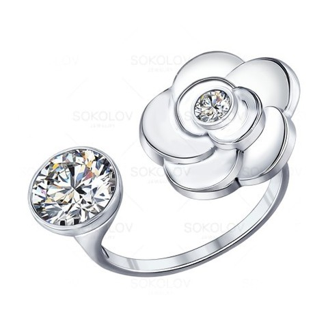 Раэъемное кольцо из серебра с фианитом от SOKOLOV