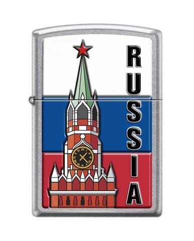 Зажигалка ZIPPO Classic Street Chrome™ с изображением Московского Кремля ZP-207 KREMLIN FLAG RUSSIA