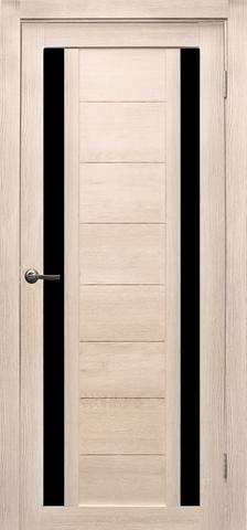 Дверь Эколайт Дорс Тандем, стекло чёрное лакобель, цвет лиственница кремовая, остекленная