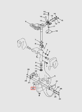 Демпфер правый  для лодочного мотора T15, OTH 9,9 SEA-PRO (14-22)