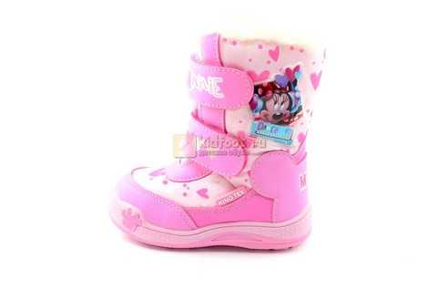 Зимние сапоги Минни Маус (Minnie Mouse) на липучках с мембраной для девочек, цвет розовый. Изображение 3 из 13.