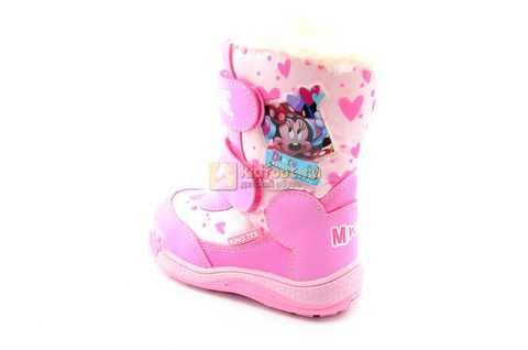 Зимние сапоги Минни Маус (Minnie Mouse) на липучках с мембраной для девочек, цвет розовый. Изображение 4 из 13.