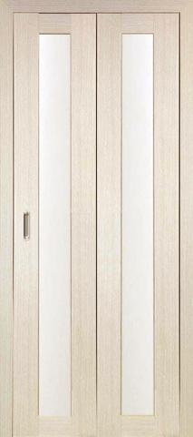 > Экошпон складная Optima Porte Турин 501.2  (2 полотна), стекло матовое, цвет беленый дуб, остекленная