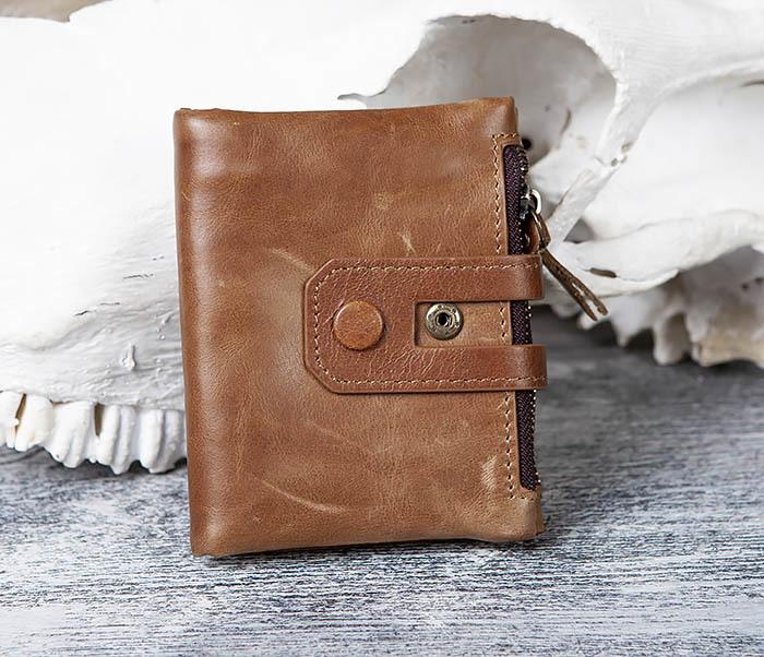 WL307-2 Мужское портмоне коричневого цвета из натуральной кожи фото 01