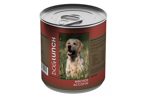 ДОГ ЛАНЧ консервы для собак (мясное ассорти в желе) 750г