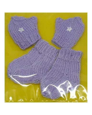 Комплект носки+варежки - Фиолетовый. Одежда для кукол, пупсов и мягких игрушек.