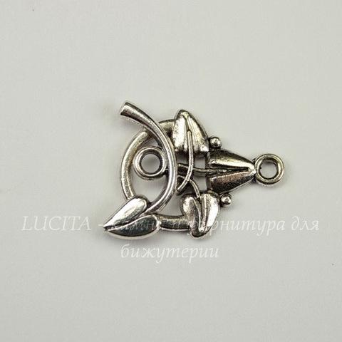 "Замок - тоггл из 2х частей ""Листочки"" (цвет - античное серебро) 19х14 мм, 22х9 мм"